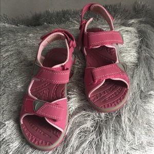 Girls Pink & Gray Velcro Sandals, 13